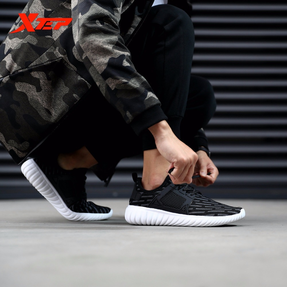 XTEP Brand Men's Athletic Sport LightWeight Air Mesh Running Shoes for men free shipping Sneakers 2017brand sport mesh men running shoes athletic sneakers air breath increased within zapatillas deportivas trainers couple shoes
