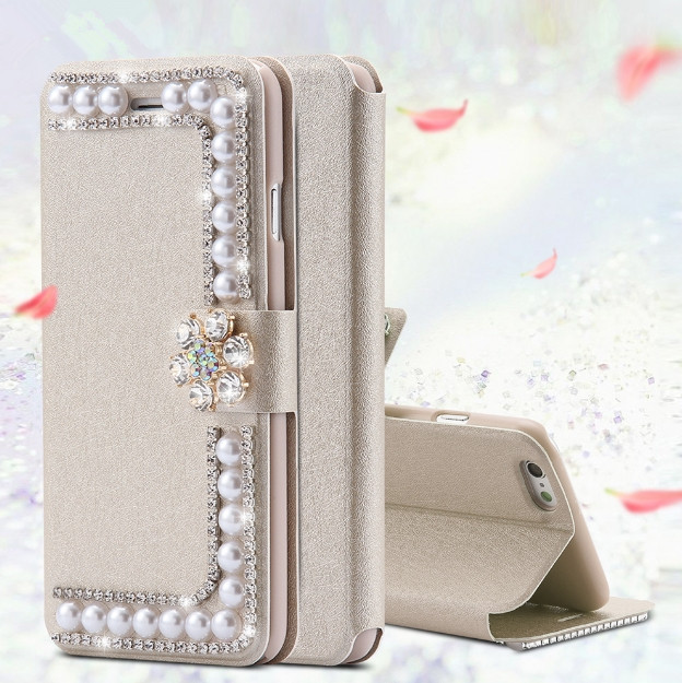 Case For Samsung Galaxy S5 S6 S6 Edge S7 Edge S8 S8 S9 S10 PLUS Luxury Pearl Wallet Leather Cover For Samsung Note5 Note8 Note9