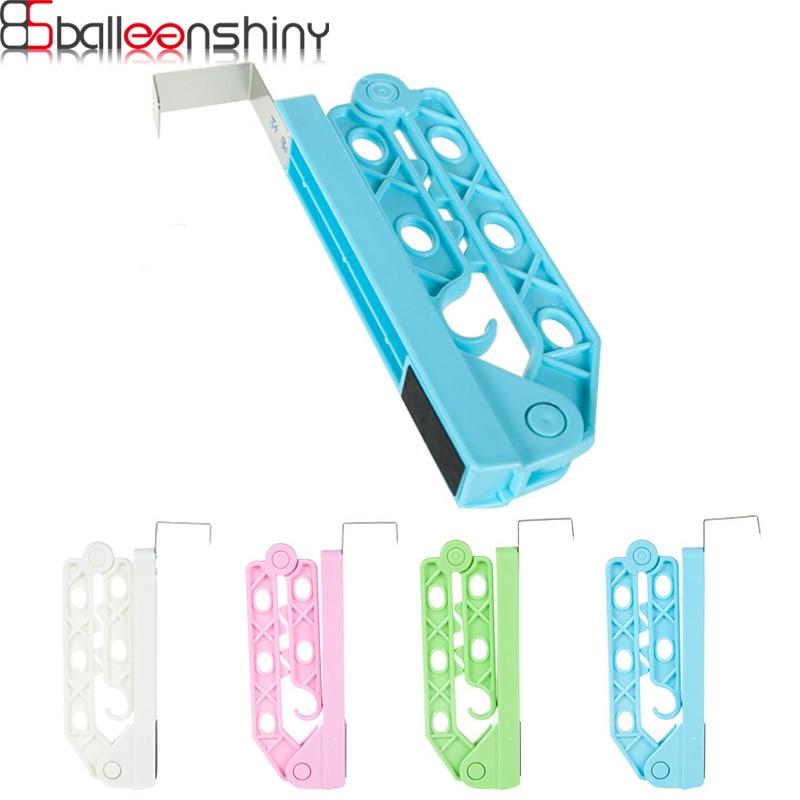 BalleenShiny Door Hanging Type Rotatable Folding Multifunctional Coat Hanger Clothes Storage Rack Organizer Random Color
