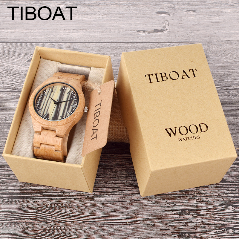 TIBOAT Bamboo Wooden Watch for Men Unique Stripe Design Top Brand Luxury Quartz Wood Band  Wrist Watches Japan Movement fashion cool punk rock design men quartz wooden watch modern black genuine leather watchband unique wood watches gift for male