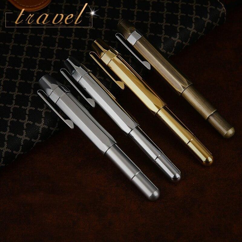 Dell'annata di alta Qualità In Ottone Iraurita penna stilografica full metal tascabile di viaggi penne Caneta Cancelleria Per Ufficio forniture scolastiche 1025