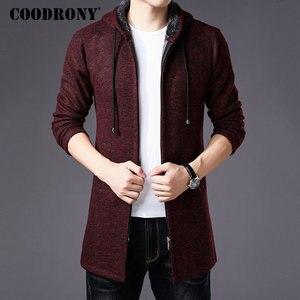 Image 3 - COODRONY セーター男性服 2019 冬厚く暖かいロングカーディガンの男性セーターコットンライナージッパーコート h004