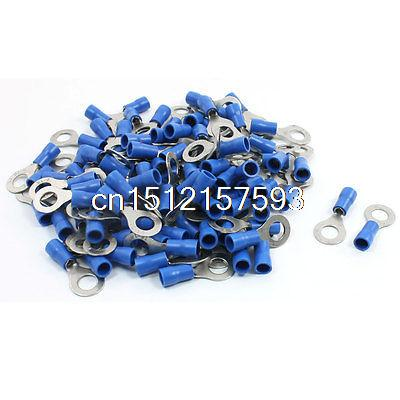 100Pcs Blue 5mm Insulated Ring Crimp Connector Terminal Electric Cable AWG 16-14 e1008 tube insulating insulated terminals 100pcs pack 1mm2 cable wire connector insulating crimp terminal connector e