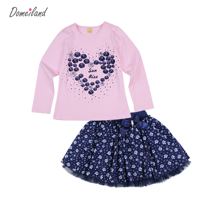 2017 Fashion spring brand domeiland baby clothing Outfits Sets Kids Girl Long Sleeve Rhinestone love Shirts bow skirts clothes sleep professor spring love