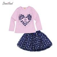 2017 Moda wiosna domeiland Outfits Zestawy dla niemowląt Dzieci Dziewczyna Z Długim Rękawem marki Rhinestone miłość Koszulki łuk spódnice ubrania