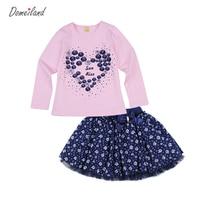2016 Fashion Winter Baby Brand Clothing Outfits Sets Kids Girl Long Sleeve Rhinestone Love Shirts Bow
