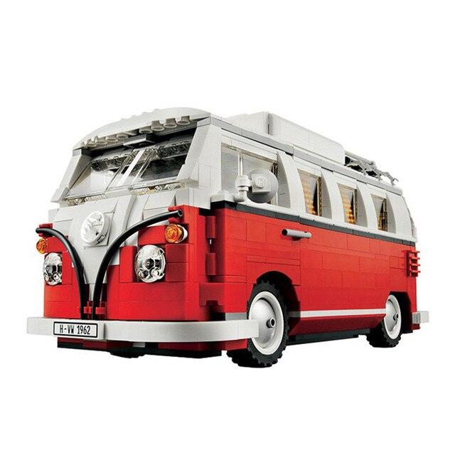 ЛЕПИН 21001 Создатель Серии Volkswagen T1 Camper Van Модель Строительные Блоки Классический Совместимость 10220 Техники Автомобиль Игрушки Подарок