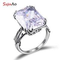 Szjinao Classic Square Zirconia ring Big birthstone hollow silver 925 jewelry anniversary wedding diamond rings for women Gift