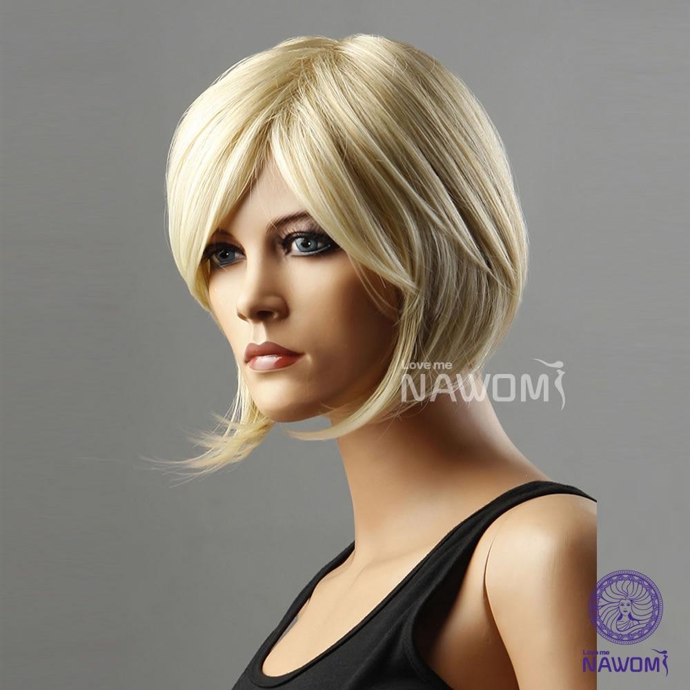Cool Neutral Style Neck Long Women Straight Golden Blonde Fake Hair
