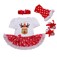 Christmas 2018 Newborn Girl Sets Short Sleeve Reindeer Romper Dress Leg Warmer Shoes Headband 4pcs Rompers