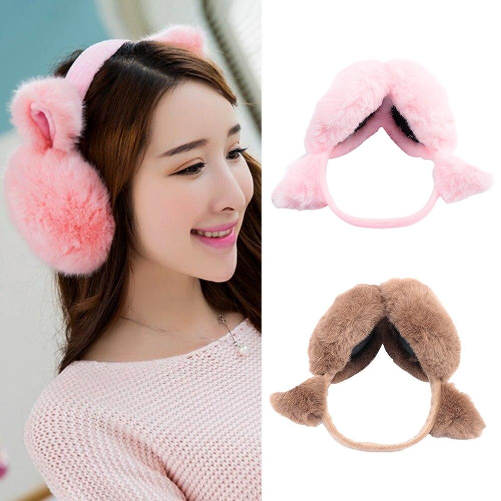 New Fashion Lovely Earmuffs Men's And Women's Autumn Winter Warm Cat Ear Set Package Ears Artificial Wool Headband Newest