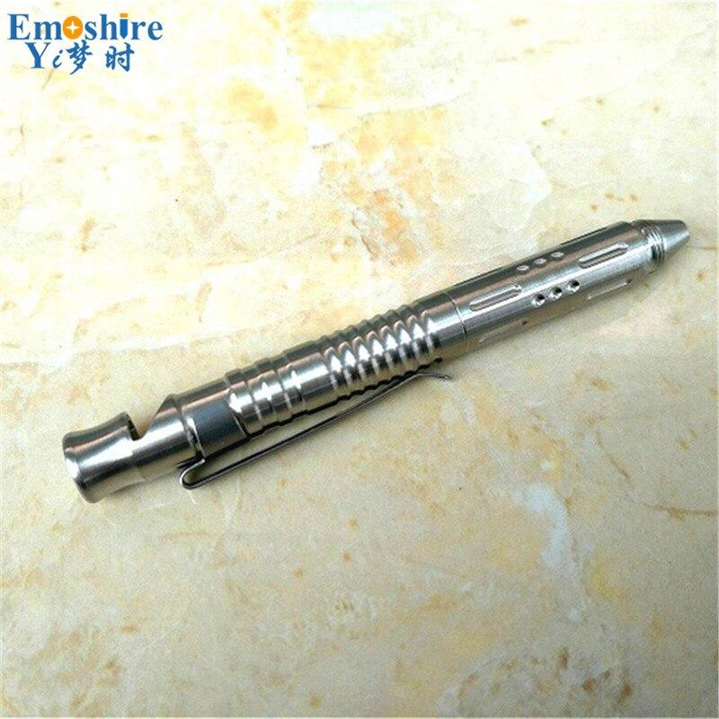 2017 Tactical Pen with Whistle Outdoor Self Defense Supplies Defensive Roller Ball Pen Customized Silver Ballpoint Pen P347