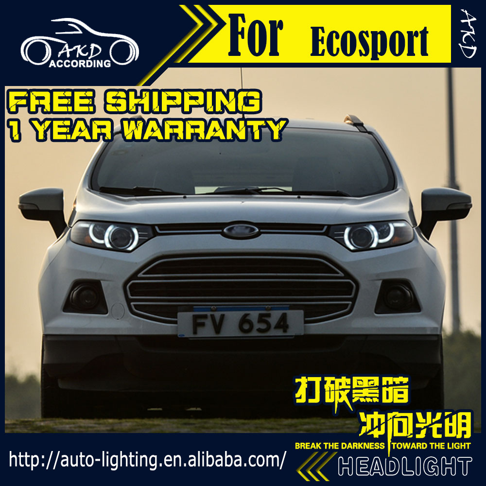 Akd car styling headlight assembly for ford ecosport led headlight 2014 sonar led drl h7 d2h
