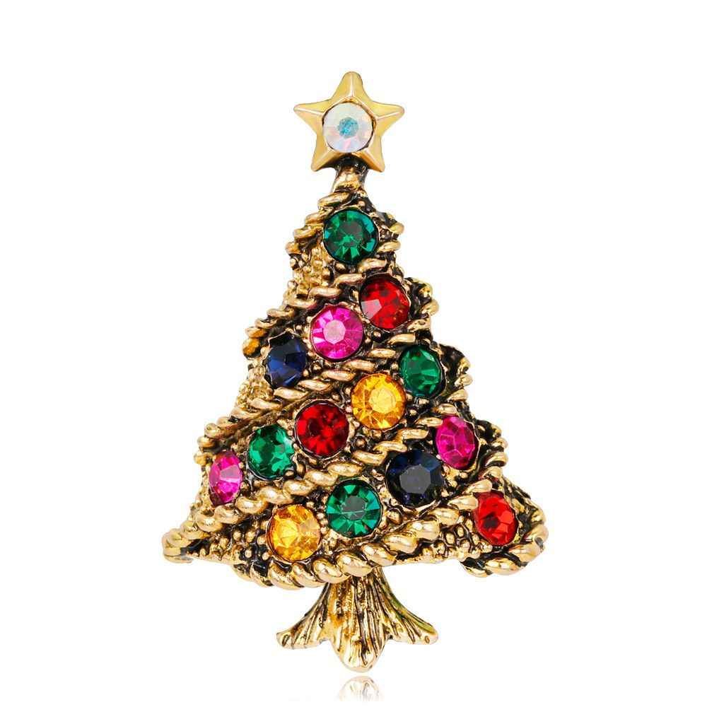 Vogue Kristal Pohon Natal Bros Pin Hadiah Setelan Selendang Bros Korsase Gaun Menghias Fashion Perhiasan Untuk Wanita