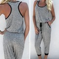New Fashion Women Sleeveless Calf-length Jumpsuit Drawstring Waist Casual Leisure Loose Playsuit