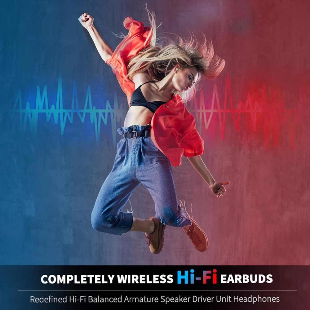 TWS اللاسلكية بلوتوث سماعات IPX7 للماء ايفي الصوت بلوتوث 5.0 لاسلكية سماعات مع هيئة التصنيع العسكري و المحمولة شحن حالة