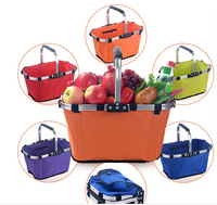 23x27x43cm Foldable Shopping Basket Oxford Picnic Basket Durable Washable Organization Bags For House Supermarket Shop Puchase
