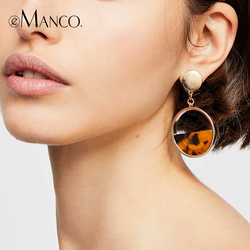 e-Manco Geometric Semicircle Resin Drop Earring For Women Two Colors Femme Dangle Earring for Friend New Arrival Fashion Jewelry