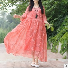 New products listed in the summer  of 2016,  the original design of high-end loose big yards of  silk linen  women dress