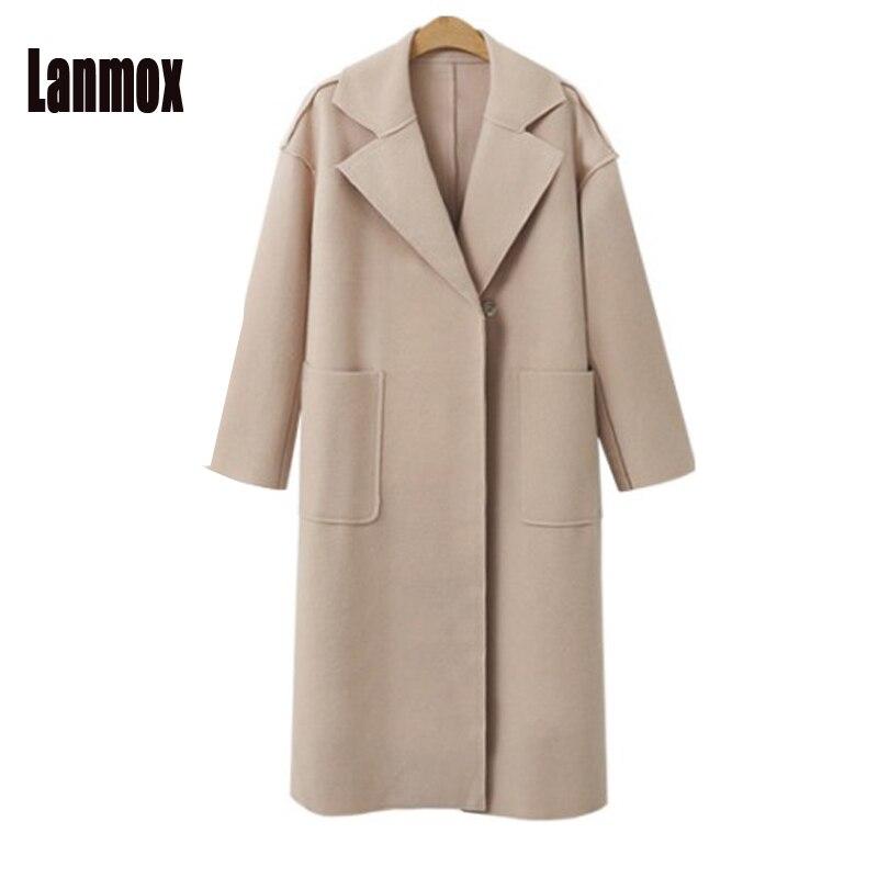 Lanmox бренд Дизайн Осенне-зимнее пальто Для женщин теплые Повседневное плюс Размеры Шерстяное Пальто Длинные Для женщин пальто европейский м... ...