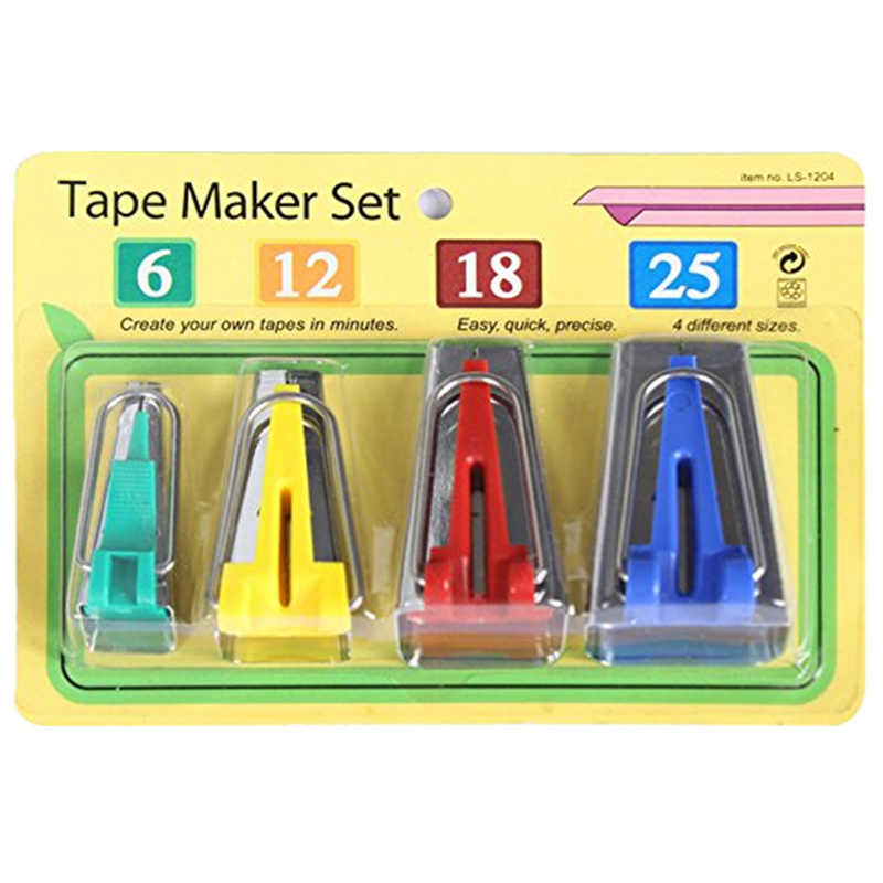 Set Of 4 Size Fabric Bias Tape Makers Set 6MM 12MM 18MM 25MM Binding Tool Sewing Quilting 5BB5086