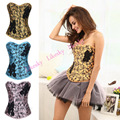 Newest Women's Sweet Embroidery Corset Blue/Yellow/Pink Flower Printed Corsets and Bustiers Shaperwear Free Shipping S-2XL