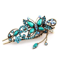NEW Green Vintage Jewelry Crystal Butterfly Hairpins Clip Hair stick for hair Beauty Tools