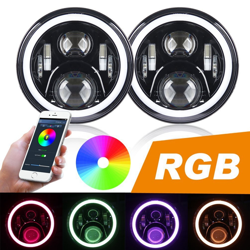 Hot sale 7 Inch LED Headlights Kit RGB with Bluetooth Remote Halo Ring Angel Eyes for Jeep Wrangler 1997-2017 JK TJ CJ 4 90mm rgb led lights wholesale price led halo rings 12v 10000k angel eyes rgb led angel eyes for byd for chery for golf4