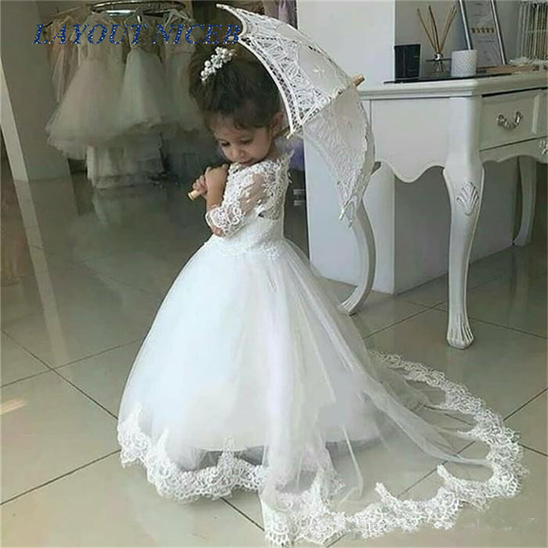 Cute White   Flower     Girl     Dresses   For Weddings Half Sleeve Sweep Train Appliques Child Birthday Party Gowns First Communion   Dress