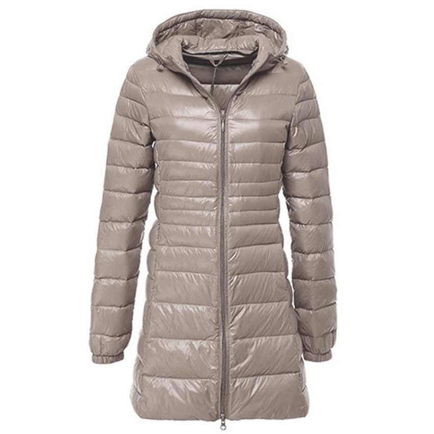 Женский ультра легкий пуховик, Осень-зима, теплый белый утиный пух, парка, длинный, с капюшоном, тонкое, легкое пальто, плюс размер S ~ 6XL AB497