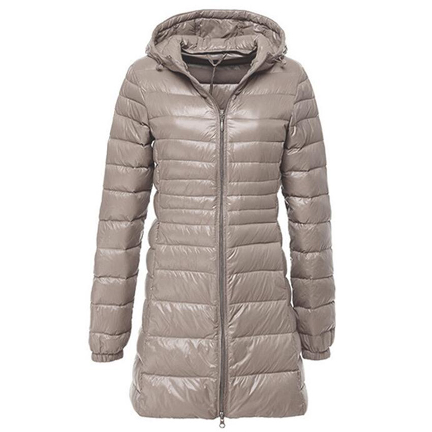 Image 2 - Women Ultra Light Down Jacket Autumn Winter Warm White Duck Down Parkas Long Hooded Thin Lightweight Coat Plus Size S~6XL AB497-in Down Coats from Women's Clothing