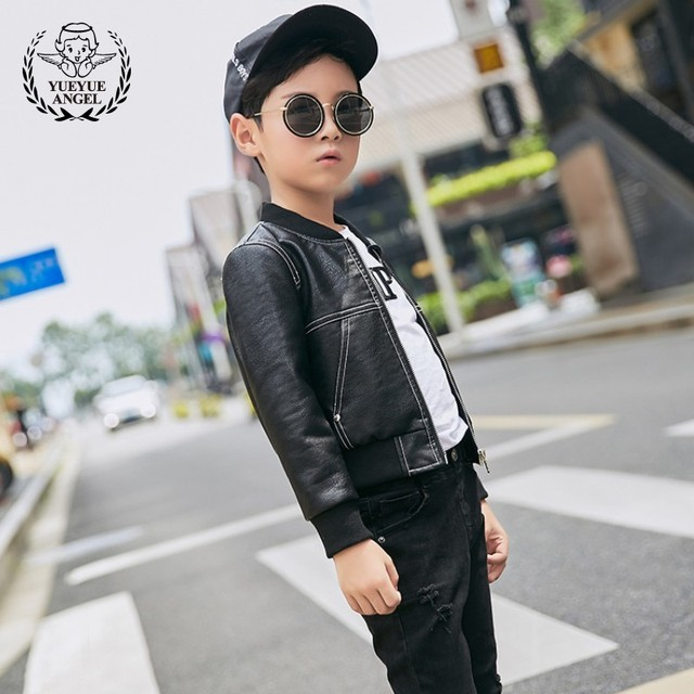 1c14a75da US $42.14  Boys Autumn Waterproof Pu Leather Jacket Short Style Kids  Outwear Coat Faux Leather Slim Fit Biker Bomber Jacket Casual Coats-in  Jackets & ...
