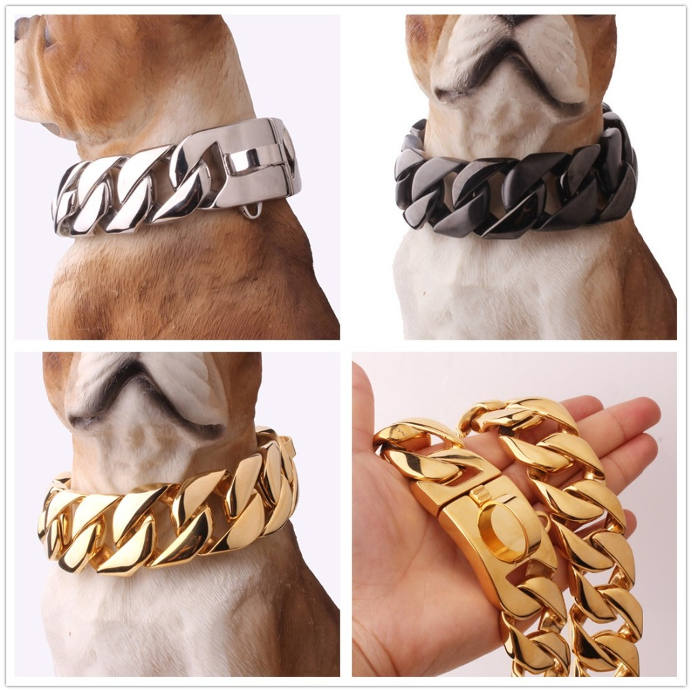 24/30 MM de large fort lourd en acier inoxydable 316L argent or noir cubain gourmette chien collier collier Choker personnaliser longueur 18