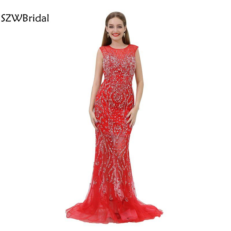 Fashion O-Neck Cap Sleeve Beading Crystal Mermaid   Evening     dress   Robe de soiree longue 2019 Long   evening   gowns