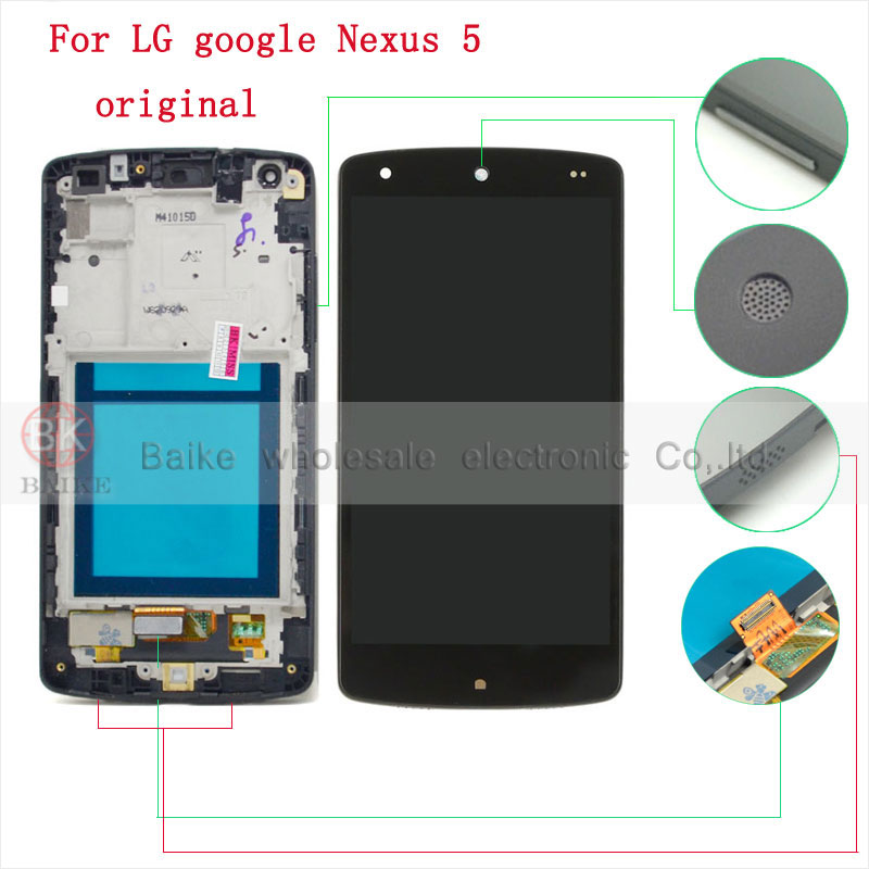 For LG Nexus 5 D820 D821 Display Lcd Screen Digitizer Touch Screen Frame Assembly 100 Guarantee
