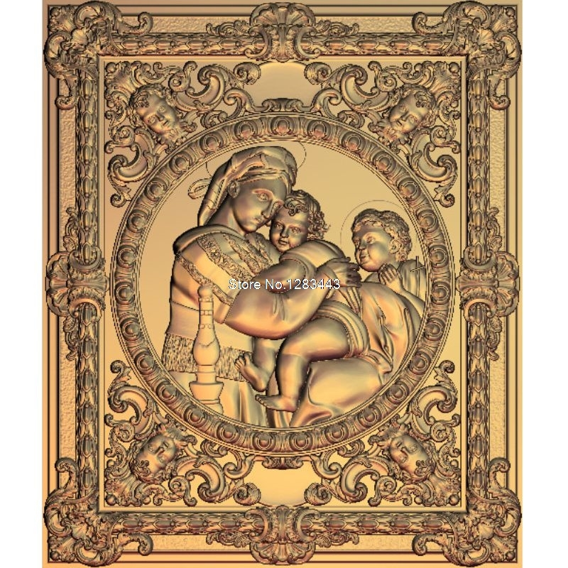 2pcs Madonna and Child 3d model STL relief for cnc STL format Madonna 3d Relief Model STL Router 3 axis Engraver ArtCam martyrs faith hope and love and their mother sophia 3d model relief figure stl format religion for cnc in stl file format