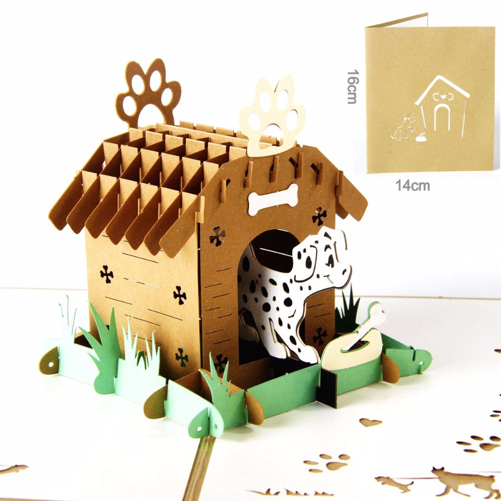 Compare prices on dog birthday greeting online shoppingbuy low cute 3 d pop up card paper laser cutting custom greeting card spots dog house lover happy birthday thank you cards postcards kristyandbryce Choice Image
