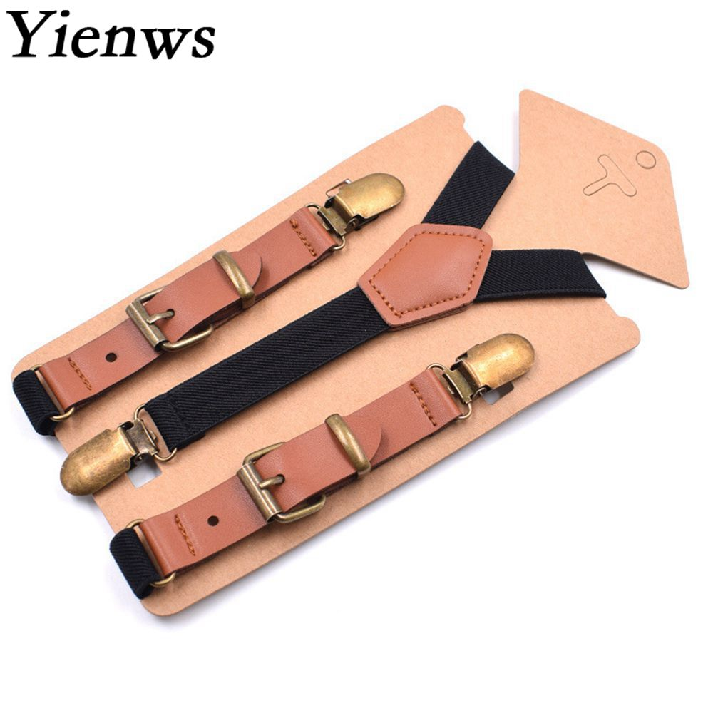 Yienws Black Braces For Children Leisure Vintage Patch Leather Suspenders Boys 3Clip Y-back Button Pants Suspenders 75cm