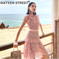 woman pink dress summer beach short sleeve luxury lace embroidery vintage dresses female runway design spring wear