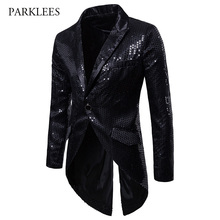 Black Sequin Gothic Tuxedo Blazer Men Brand Slim Fit One Button Long Tailcoat Jacket Male Party Stage Singer Halloween Costume