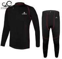 Winter Men Thermal Fleece Base Layer Compressed Underwear Bike Cycling Jersey Long Sleeve Bicycle Jersey Set