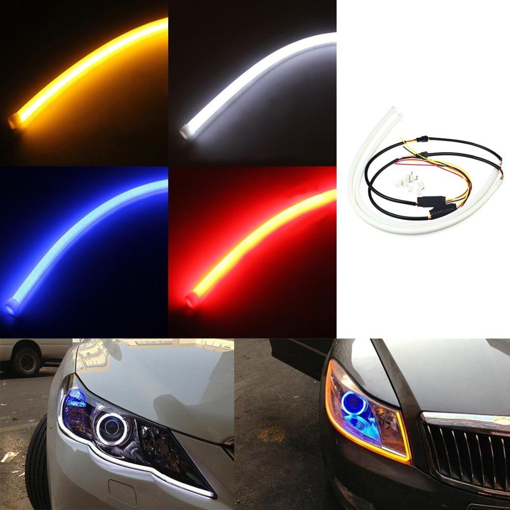 Tonewan 2PCS/lot 30CM Flexible led Tube Strip White car-styling soft Daytime Running Light DRL Headlamp Universal Car lights