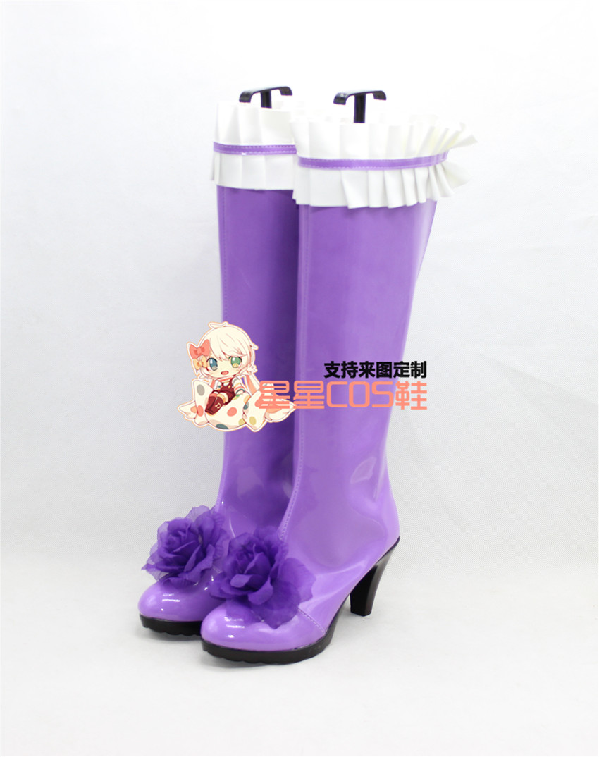 Rozen Maiden Barasuishou Rose Crystal Purple Cosplay Shoes Boots X002