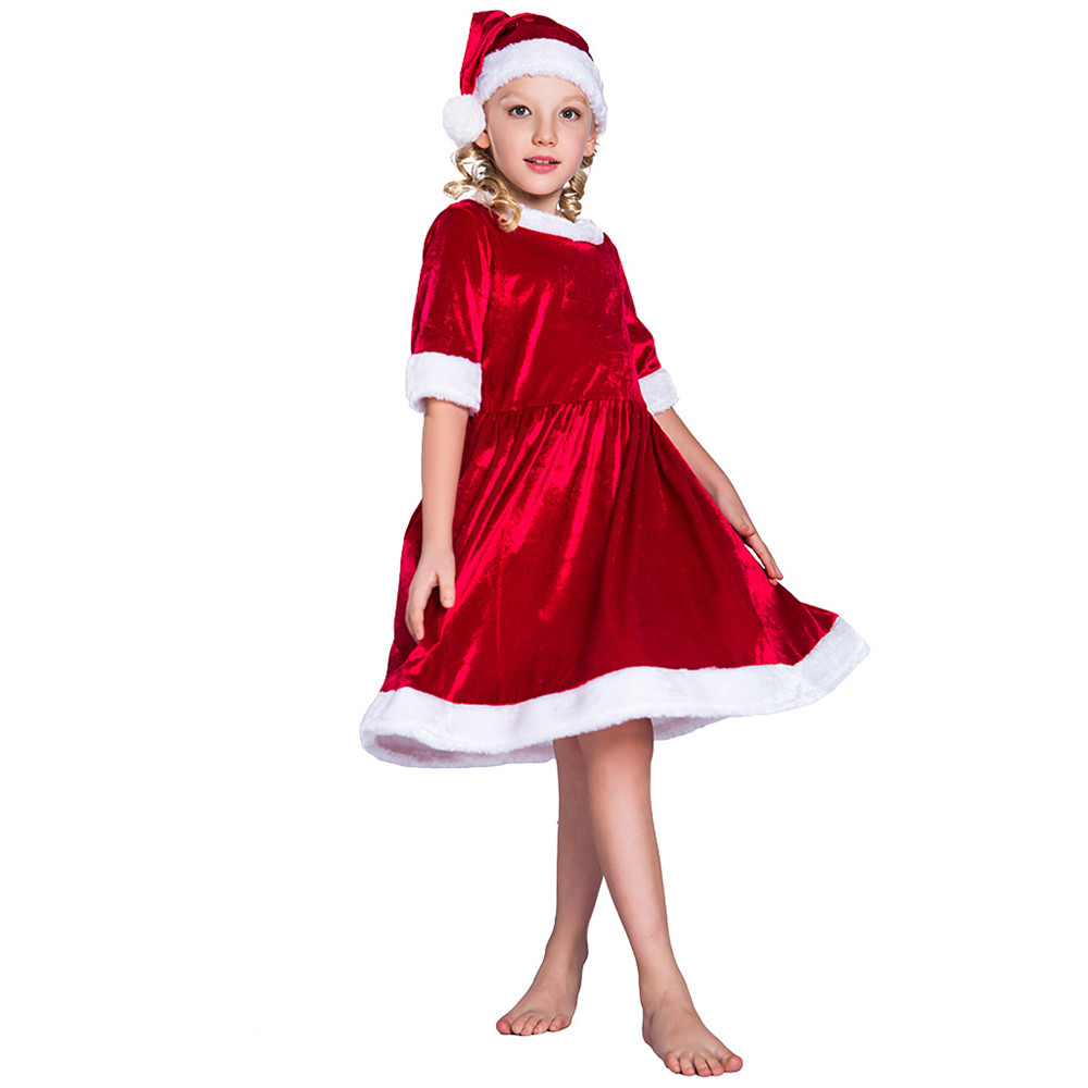 Child Christmas Santa Claus Dress And Hat Set Christmas Costume Christmas Dresses For Girls Velvet Loose Christmas Suit