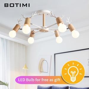 Image 3 - BOTIMI خشبية LED الثريا لغرفة المعيشة الأبيض بريق غرفة نوم مصابيح الأسود Lustres خشبية مصابيح تعليق للزينة الإضاءة الطعام