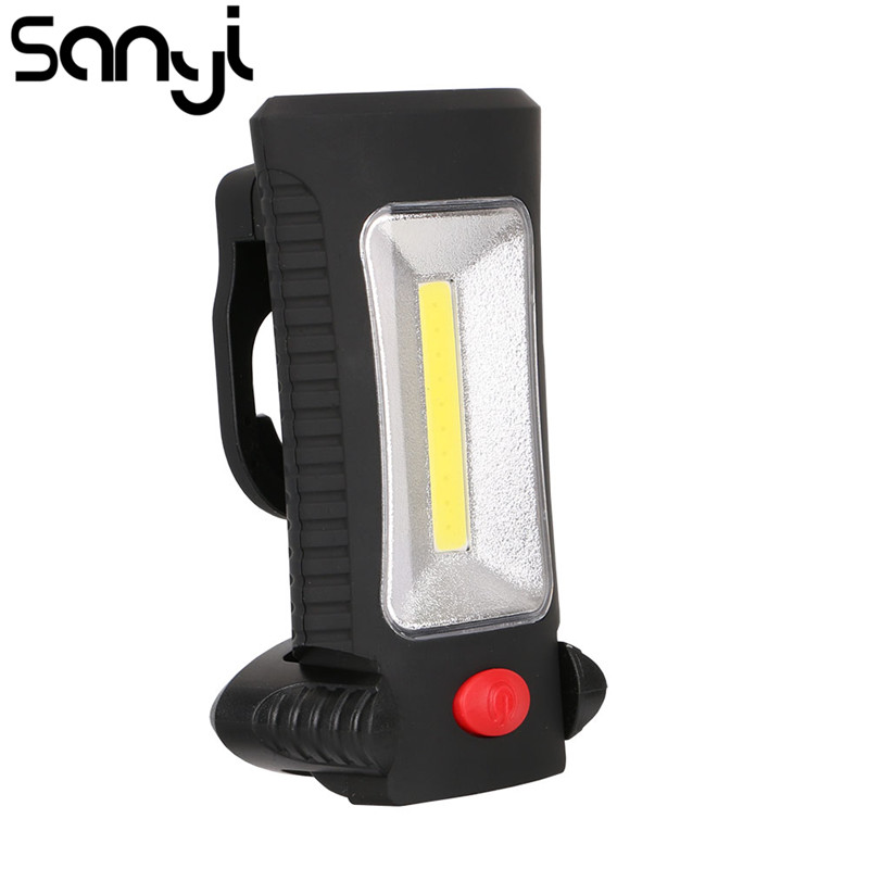 SANYI Multifunctional Portable COB LED Magnetic Folding Hook Working Inspection Light Flashlight Torch Lanterna Lamp USE 3xAAA