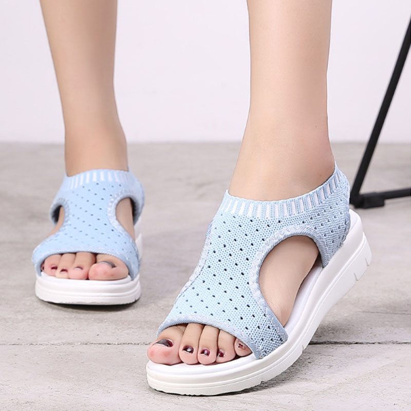 Wild Elastic Belt Sports Sandals Summer New Womens Shoes Womens Thick Bottom Fish Mouth Mesh Sandals Drop ShippingWild Elastic Belt Sports Sandals Summer New Womens Shoes Womens Thick Bottom Fish Mouth Mesh Sandals Drop Shipping
