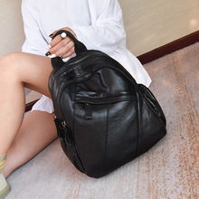Female leather baotou layer cowhide female Korean shoulder  2018 new minimalist stitching fashion backpackbag