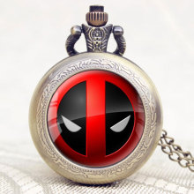 American Comic Badass Deadpool Pocket Watch Men Women Cartoon Characters Quartz Clock Hour Free Shipping