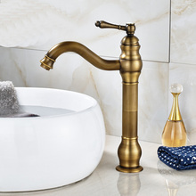 Antique Brass Bathroom Single Hole Basin Faucet Deck Mounted Vanity Sink Mixer Tap KD500